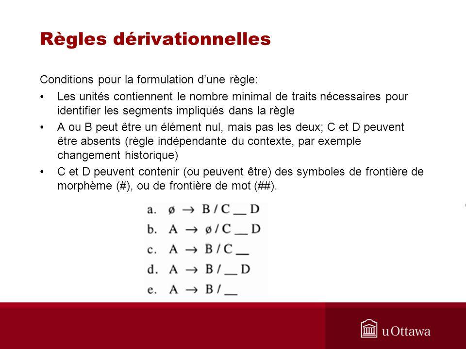 Règles dérivationnelles Conditions pour la formulation dune règle: Les unités contiennent le nombre minimal de traits nécessaires pour identifier les segments impliqués dans la règle A ou B peut être un élément nul, mais pas les deux; C et D peuvent être absents (règle indépendante du contexte, par exemple changement historique) C et D peuvent contenir (ou peuvent être) des symboles de frontière de morphème (#), ou de frontière de mot (##).