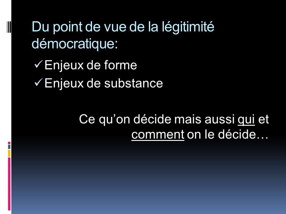 Du point de vue de la légitimité démocratique: Enjeux de forme Enjeux de substance Ce quon décide mais aussi qui et comment on le décide…