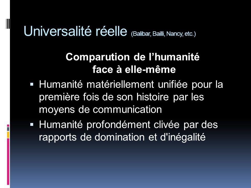 Universalité réelle (Balibar, Bailli, Nancy, etc.) Comparution de lhumanité face à elle-même Humanité matériellement unifiée pour la première fois de son histoire par les moyens de communication Humanité profondément clivée par des rapports de domination et d inégalité
