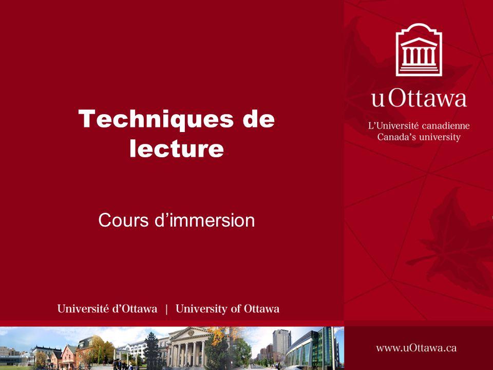 Techniques de lecture Cours dimmersion