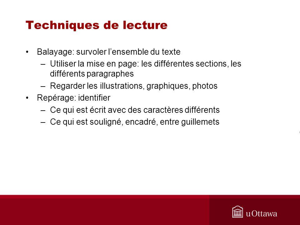 Techniques de lecture Balayage: survoler lensemble du texte –Utiliser la mise en page: les différentes sections, les différents paragraphes –Regarder