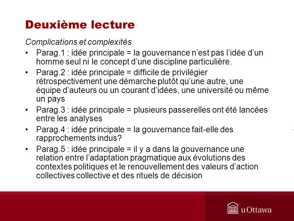 Deuxième lecture Complications et complexités Parag.1 : idée principale = la gouvernance nest pas lidée dun homme seul ni le concept dune discipline p