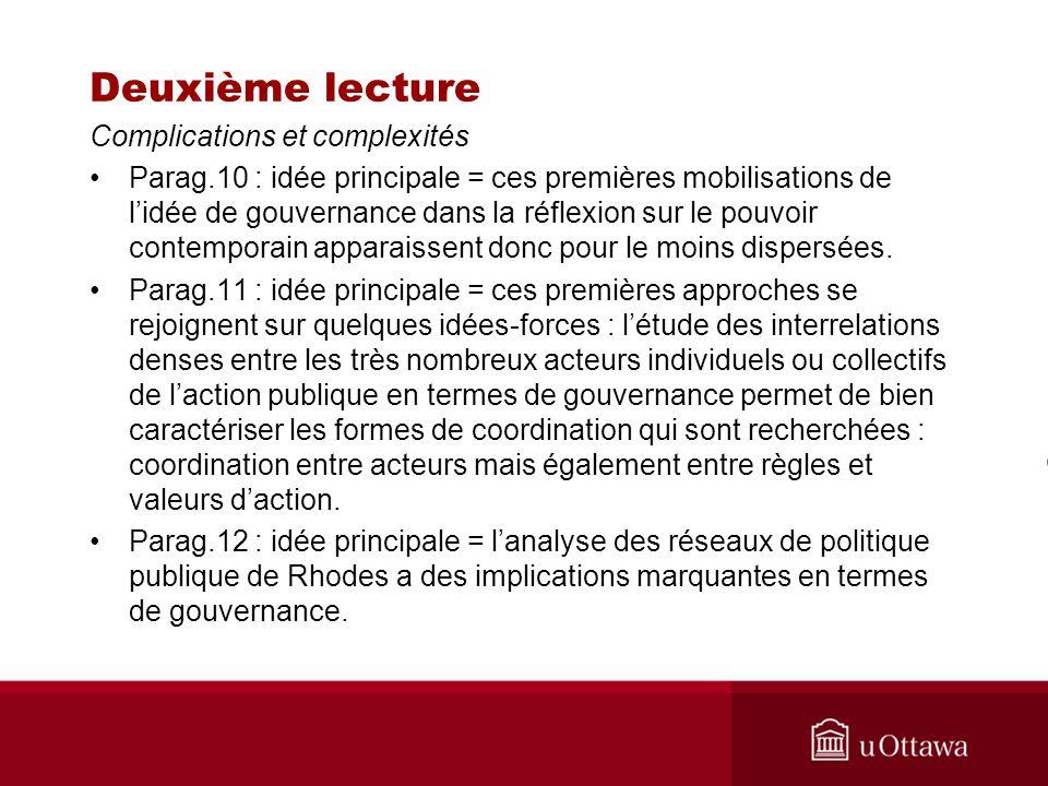 Deuxième lecture Complications et complexités Parag.10 : idée principale = ces premières mobilisations de lidée de gouvernance dans la réflexion sur l