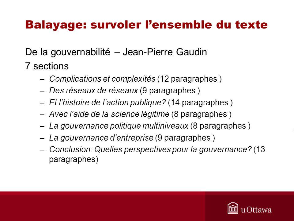 Balayage: survoler lensemble du texte De la gouvernabilité – Jean-Pierre Gaudin 7 sections –Complications et complexités (12 paragraphes ) –Des réseau