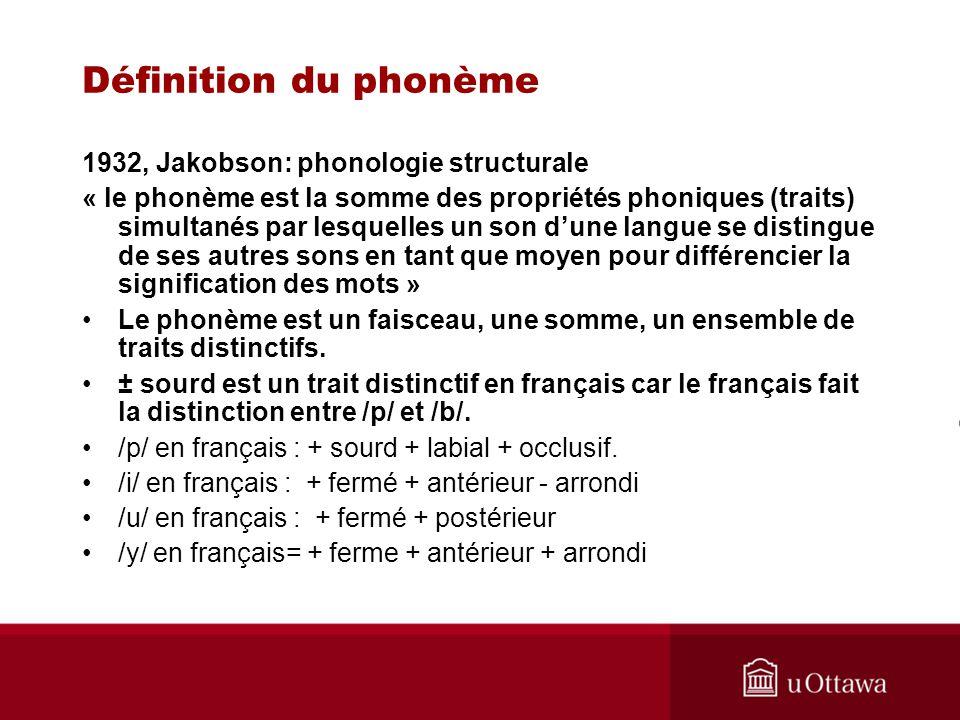 Définition du phonème 1932, Jakobson: phonologie structurale « le phonème est la somme des propriétés phoniques (traits) simultanés par lesquelles un