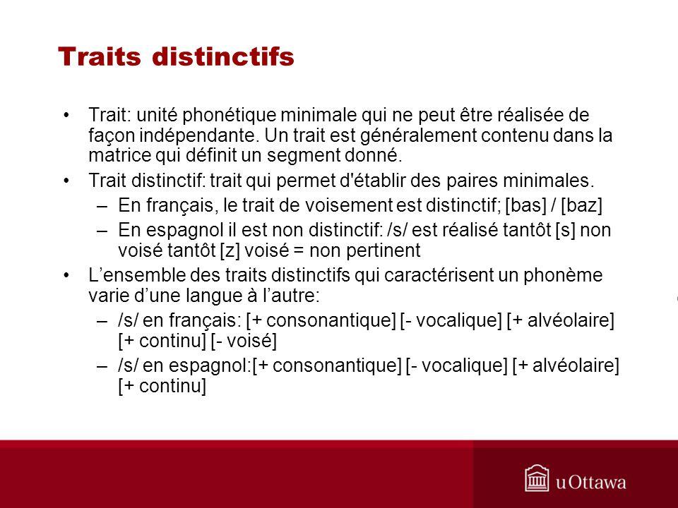 Traits distinctifs Trait: unité phonétique minimale qui ne peut être réalisée de façon indépendante. Un trait est généralement contenu dans la matrice