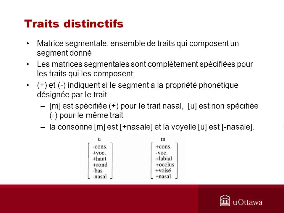 Traits distinctifs Matrice segmentale: ensemble de traits qui composent un segment donné Les matrices segmentales sont complètement spécifiées pour le