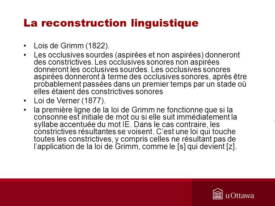 Principes de la reconstruction linguistique Établir des correspondances régulières –[k] –[ ] Le sens doit correspondre aussi