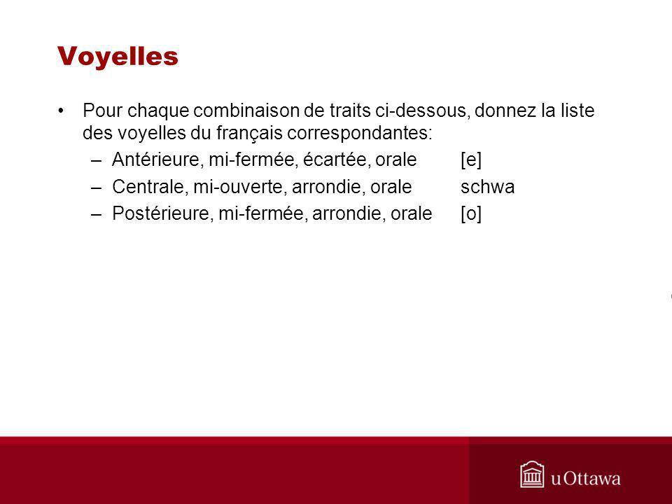 Pour chaque combinaison de traits ci-dessous, donnez la liste des voyelles du français correspondantes: –Antérieure, mi-fermée, écartée, orale[e] –Centrale, mi-ouverte, arrondie, oraleschwa –Postérieure, mi-fermée, arrondie, orale[o]