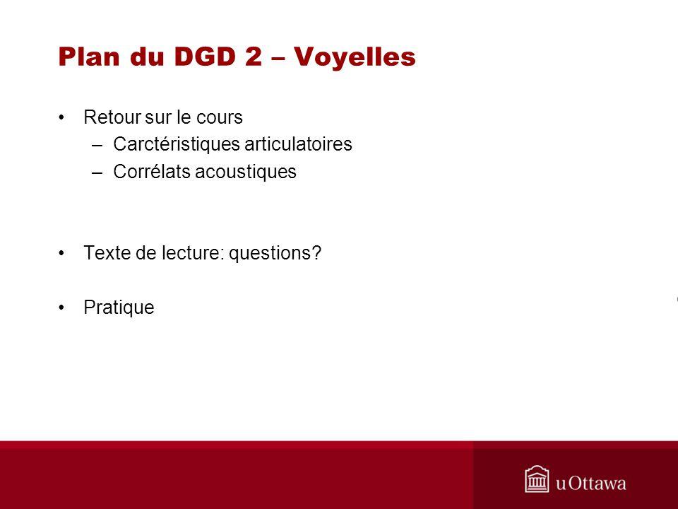 Plan du DGD 2 – Voyelles Retour sur le cours –Carctéristiques articulatoires –Corrélats acoustiques Texte de lecture: questions? Pratique