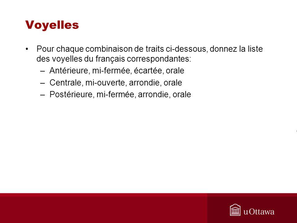 Pour chaque combinaison de traits ci-dessous, donnez la liste des voyelles du français correspondantes: –Antérieure, mi-fermée, écartée, orale –Centra