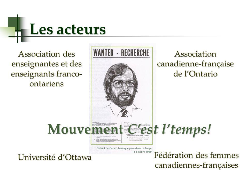 Les acteurs Mouvement Cest ltemps! Association canadienne-française de lOntario Association des enseignantes et des enseignants franco- ontariens Fédé