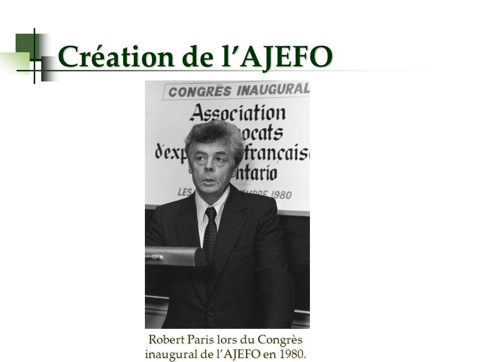 Création de lAJEFO Robert Paris lors du Congrès inaugural de lAJEFO en 1980.