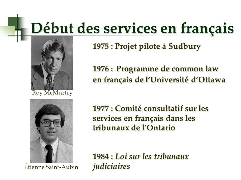 Début des services en français 1975 : Projet pilote à Sudbury 1976 : Programme de common law en français de lUniversité dOttawa 1977 : Comité consulta