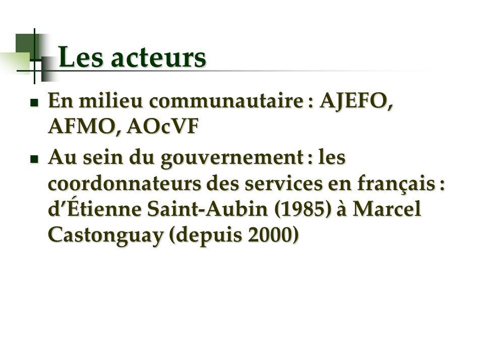 Les acteurs En milieu communautaire : AJEFO, AFMO, AOcVF En milieu communautaire : AJEFO, AFMO, AOcVF Au sein du gouvernement : les coordonnateurs des services en français : dÉtienne Saint-Aubin (1985) à Marcel Castonguay (depuis 2000) Au sein du gouvernement : les coordonnateurs des services en français : dÉtienne Saint-Aubin (1985) à Marcel Castonguay (depuis 2000)