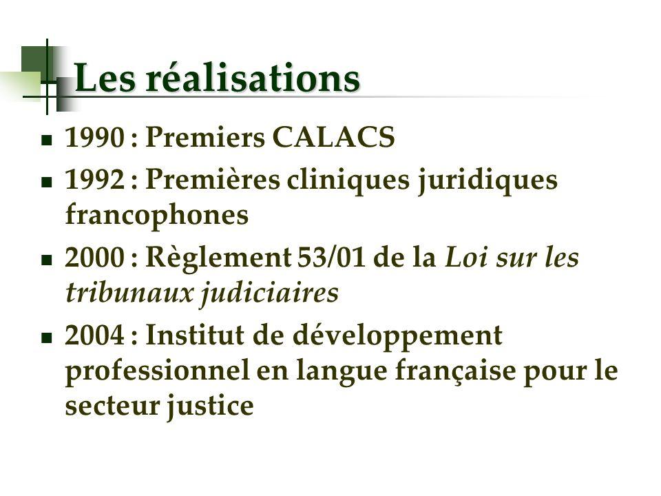 Les réalisations 1990 : Premiers CALACS 1992 : Premières cliniques juridiques francophones 2000 : Règlement 53/01 de la Loi sur les tribunaux judiciaires 2004 : Institut de développement professionnel en langue française pour le secteur justice