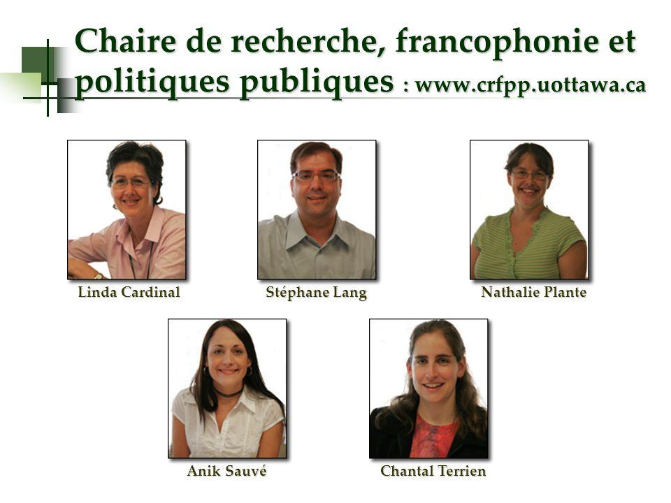 Chaire de recherche, francophonie et politiques publiques : www.crfpp.uottawa.ca Linda Cardinal Stéphane Lang Nathalie Plante Anik Sauvé Chantal Terrien