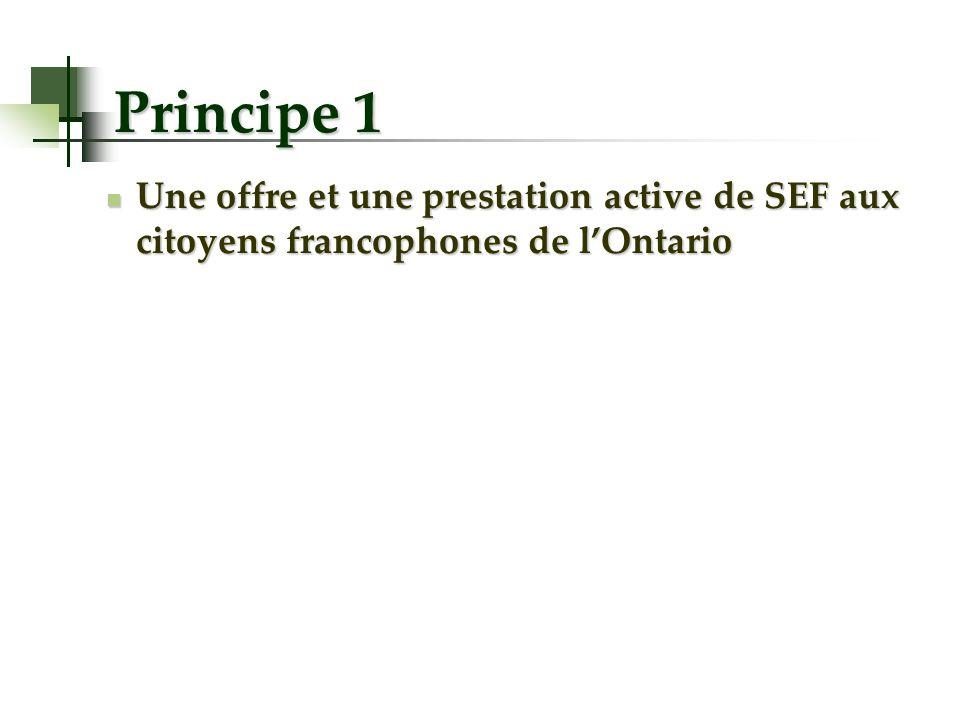 Principe 1 Une offre et une prestation active de SEF aux citoyens francophones de lOntario Une offre et une prestation active de SEF aux citoyens fran