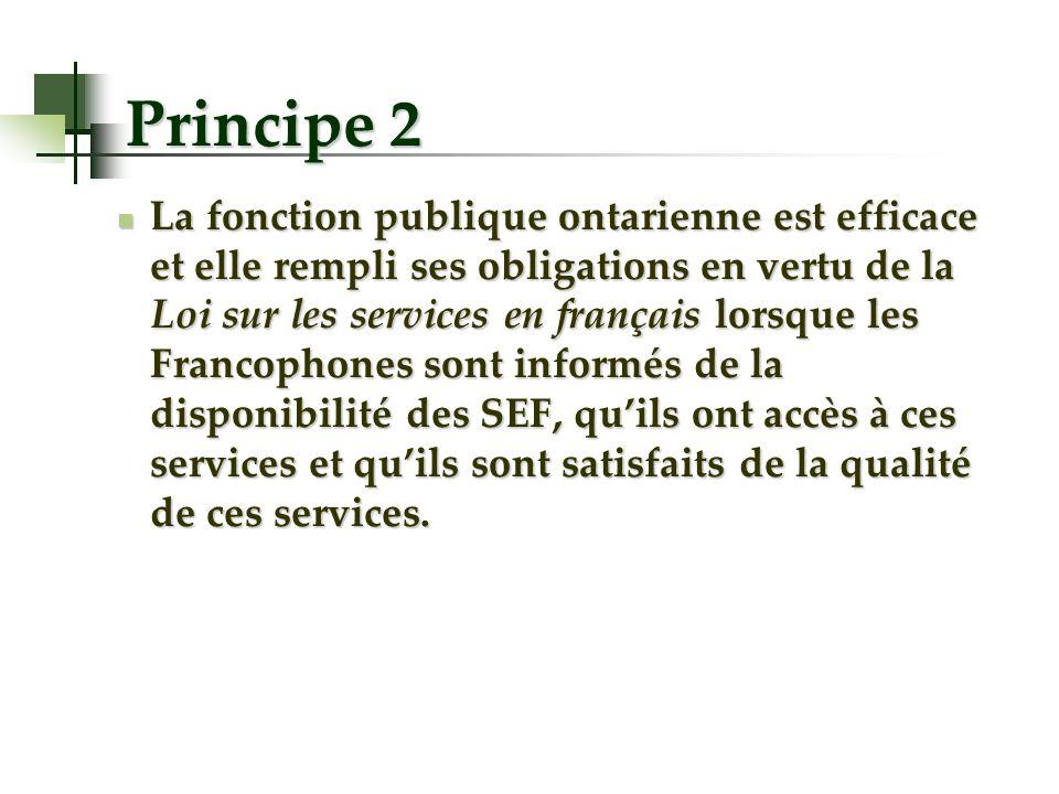 Principe 2 La fonction publique ontarienne est efficace et elle rempli ses obligations en vertu de la Loi sur les services en français lorsque les Fra