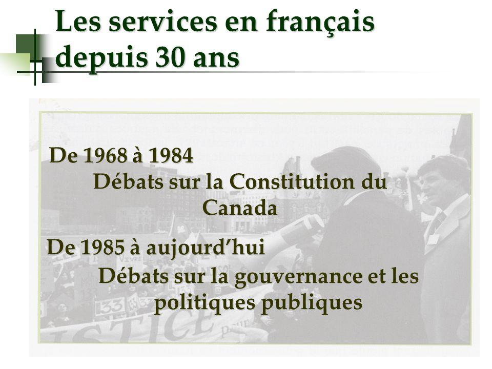 Les services en français depuis 30 ans De 1968 à 1984 Débats sur la Constitution du Canada De 1985 à aujourdhui Débats sur la gouvernance et les politiques publiques