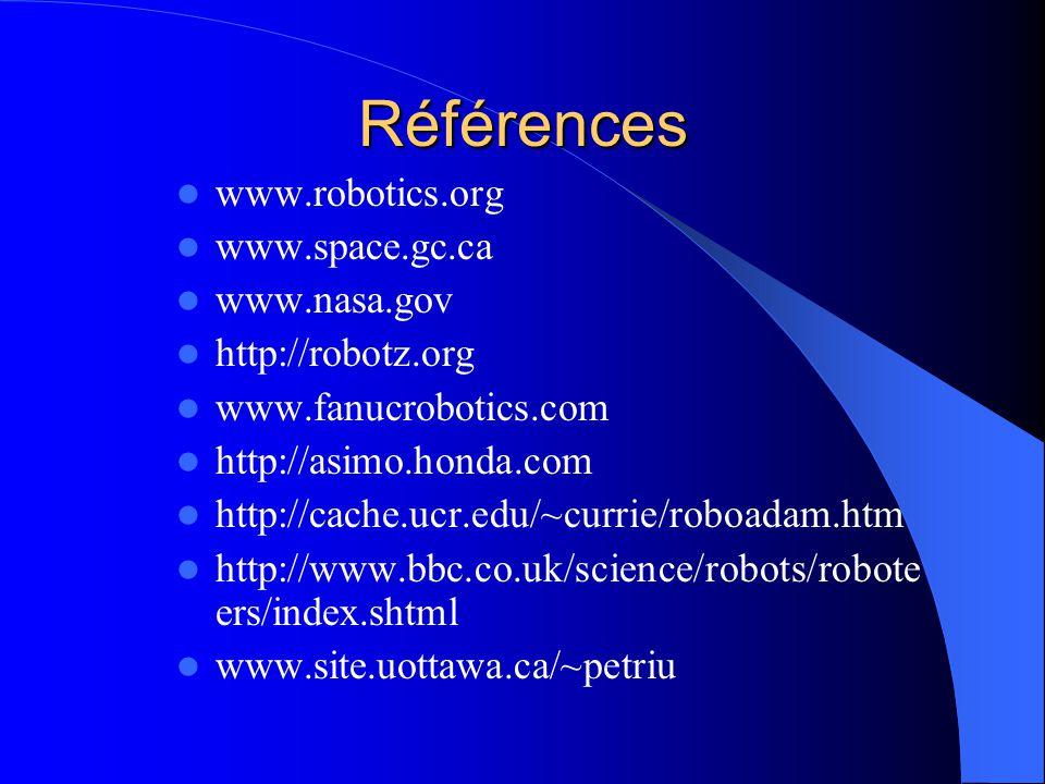 Références www.robotics.org www.space.gc.ca www.nasa.gov http://robotz.org www.fanucrobotics.com http://asimo.honda.com http://cache.ucr.edu/~currie/r