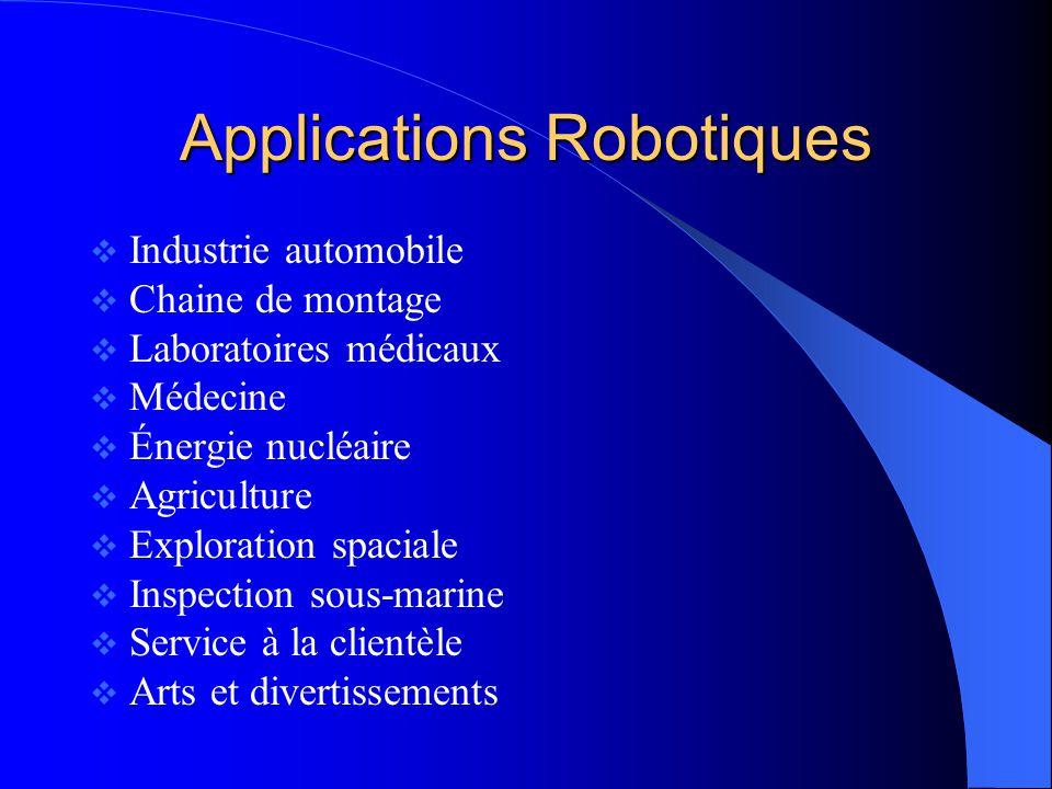 Applications Robotiques Industrie automobile Chaine de montage Laboratoires médicaux Médecine Énergie nucléaire Agriculture Exploration spaciale Inspe