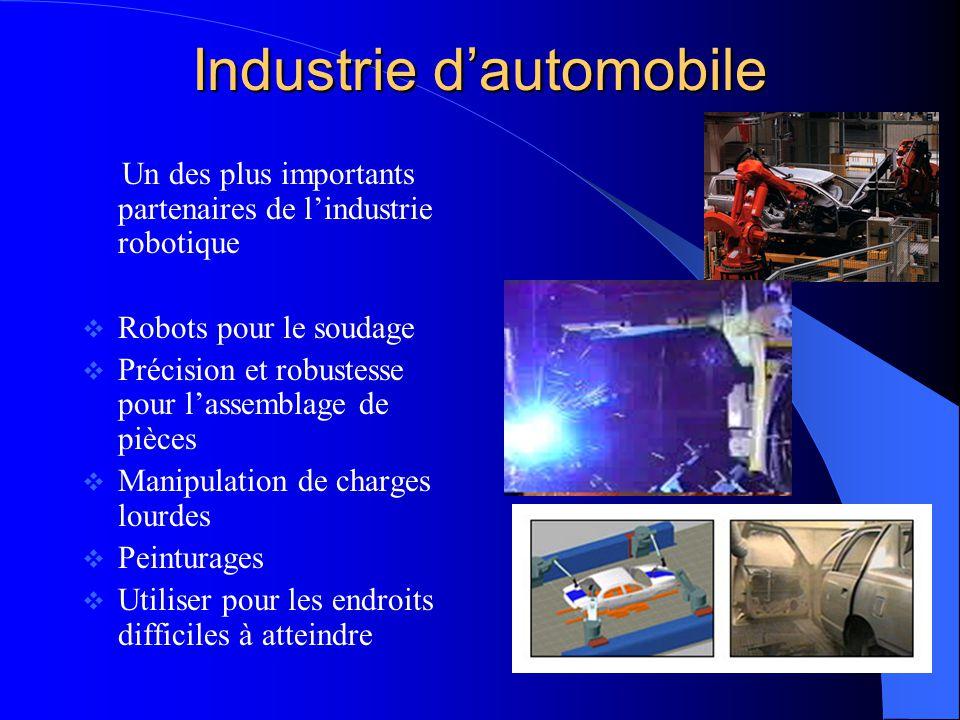 Industrie dautomobile Un des plus importants partenaires de lindustrie robotique Robots pour le soudage Précision et robustesse pour lassemblage de pi