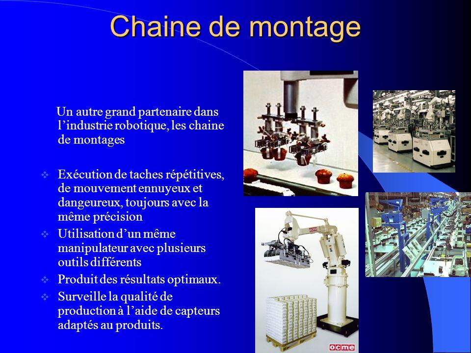 Chaine de montage Un autre grand partenaire dans lindustrie robotique, les chaine de montages Exécution de taches répétitives, de mouvement ennuyeux e