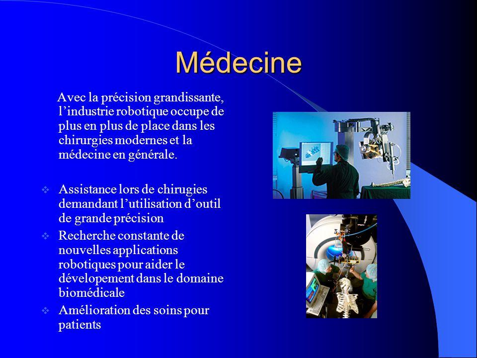 Médecine Avec la précision grandissante, lindustrie robotique occupe de plus en plus de place dans les chirurgies modernes et la médecine en générale.