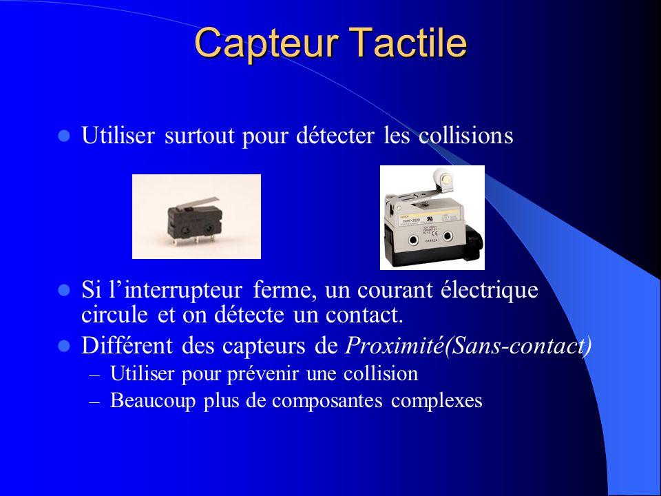 Capteur Tactile Utiliser surtout pour détecter les collisions Si linterrupteur ferme, un courant électrique circule et on détecte un contact. Différen