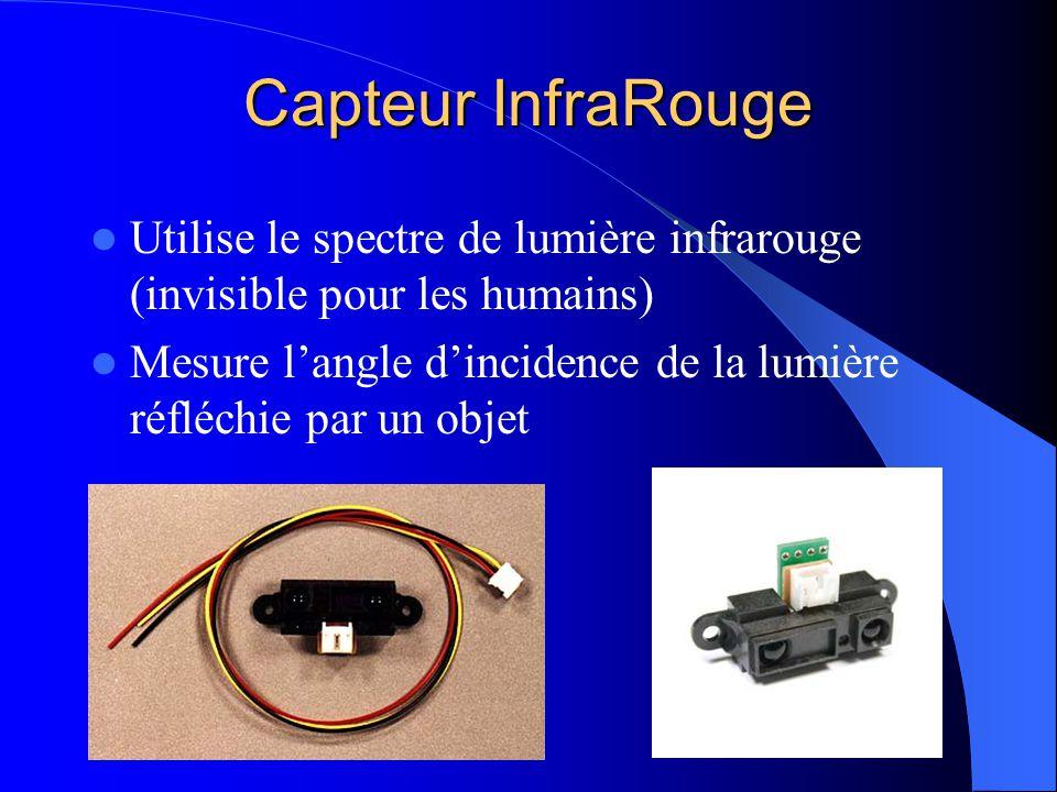 Capteur InfraRouge Utilise le spectre de lumière infrarouge (invisible pour les humains) Mesure langle dincidence de la lumière réfléchie par un objet