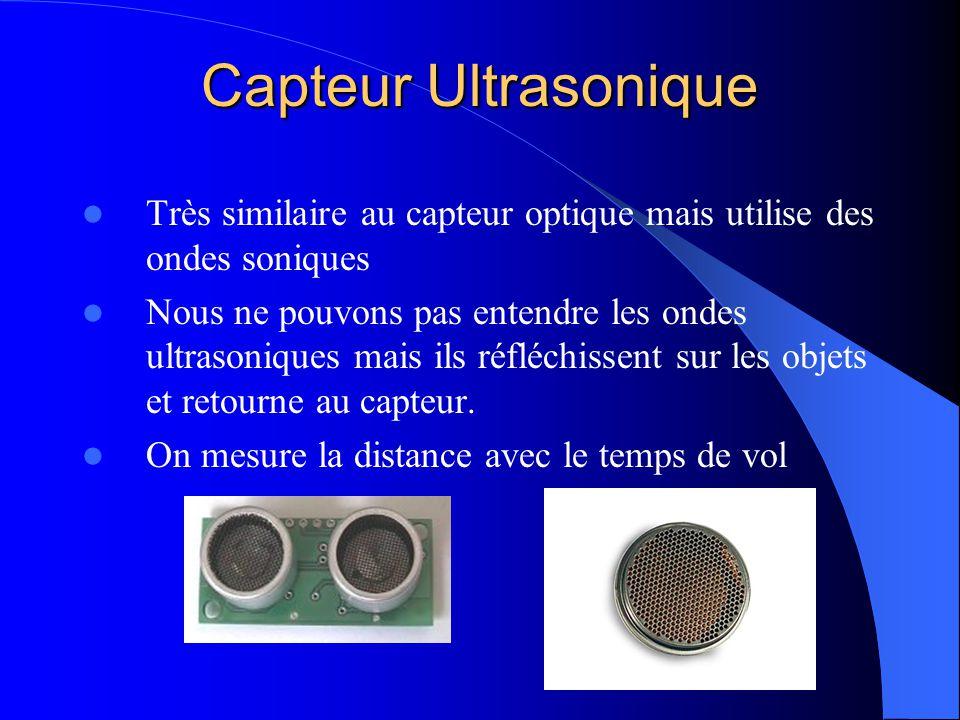 Capteur Ultrasonique Très similaire au capteur optique mais utilise des ondes soniques Nous ne pouvons pas entendre les ondes ultrasoniques mais ils r