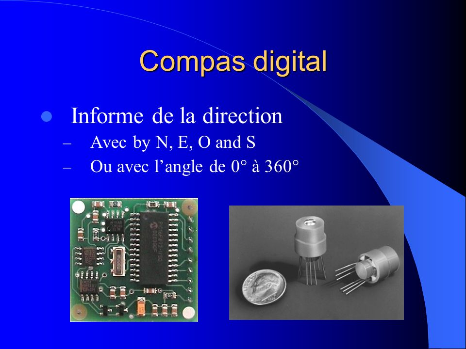 Compas digital Informe de la direction – Avec by N, E, O and S – Ou avec langle de 0° à 360°