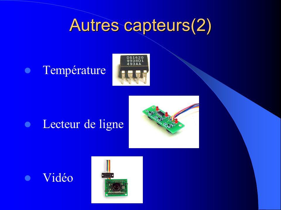 Autres capteurs(2) Température Lecteur de ligne Vidéo