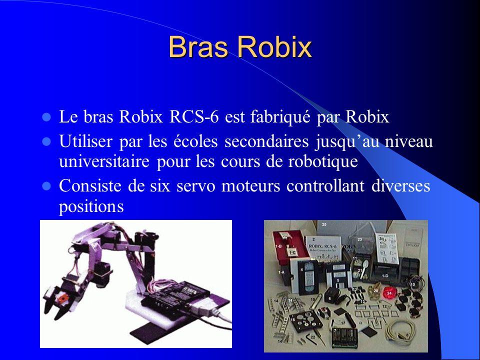 Bras Robix Le bras Robix RCS-6 est fabriqué par Robix Utiliser par les écoles secondaires jusquau niveau universitaire pour les cours de robotique Con