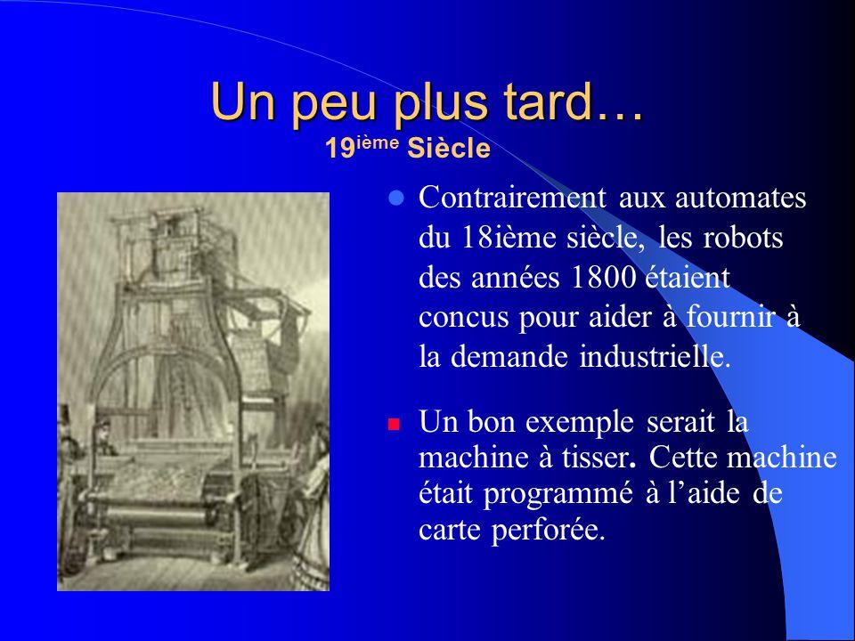 20ième Siècle 1921: Première référence au mot robot par lécrivain Czech Karel Capek (1890 - 1938).