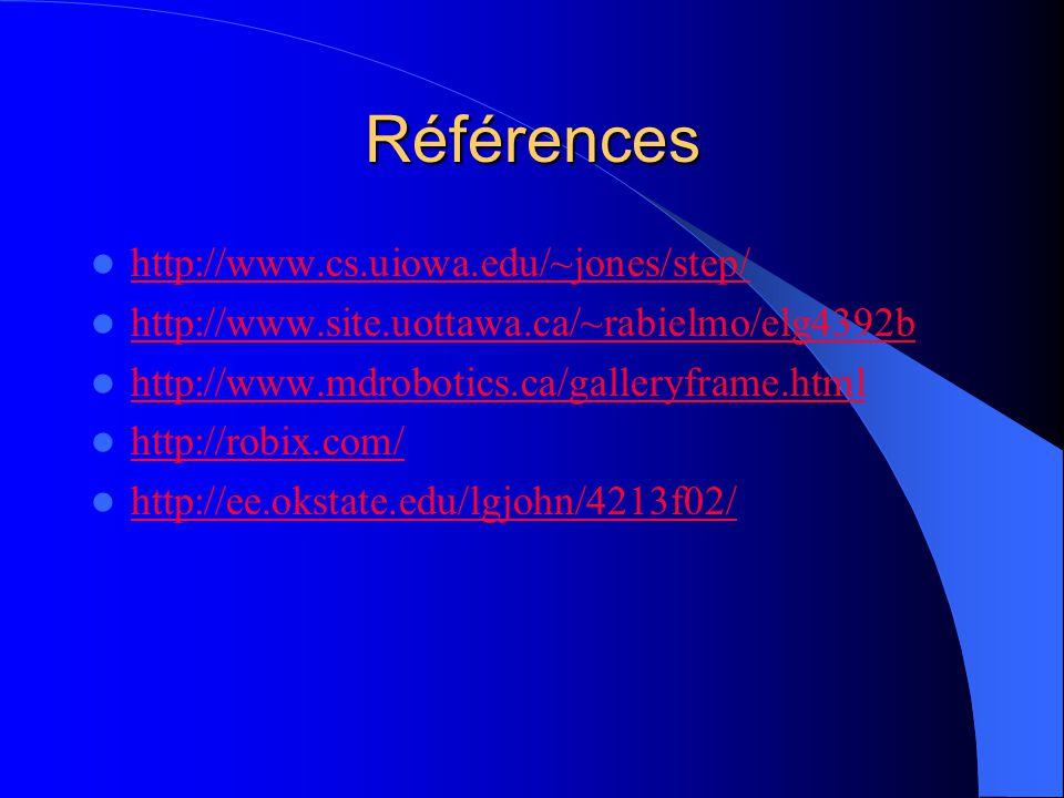 Références http://www.cs.uiowa.edu/~jones/step/ http://www.site.uottawa.ca/~rabielmo/elg4392b http://www.mdrobotics.ca/galleryframe.html http://robix.