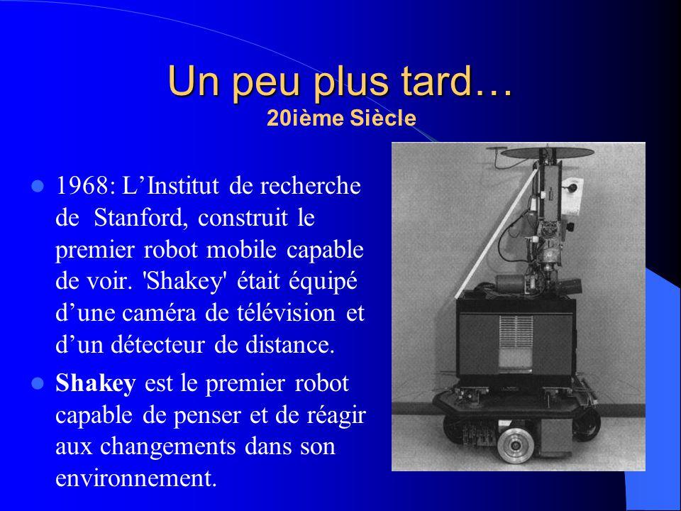 20ième Siècle 1968: LInstitut de recherche de Stanford, construit le premier robot mobile capable de voir. 'Shakey' était équipé dune caméra de télévi