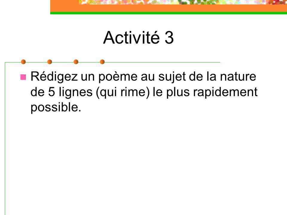 Activité 3 Rédigez un poème au sujet de la nature de 5 lignes (qui rime) le plus rapidement possible.