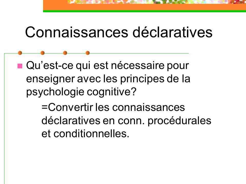 Connaissances déclaratives Quest-ce qui est nécessaire pour enseigner avec les principes de la psychologie cognitive.