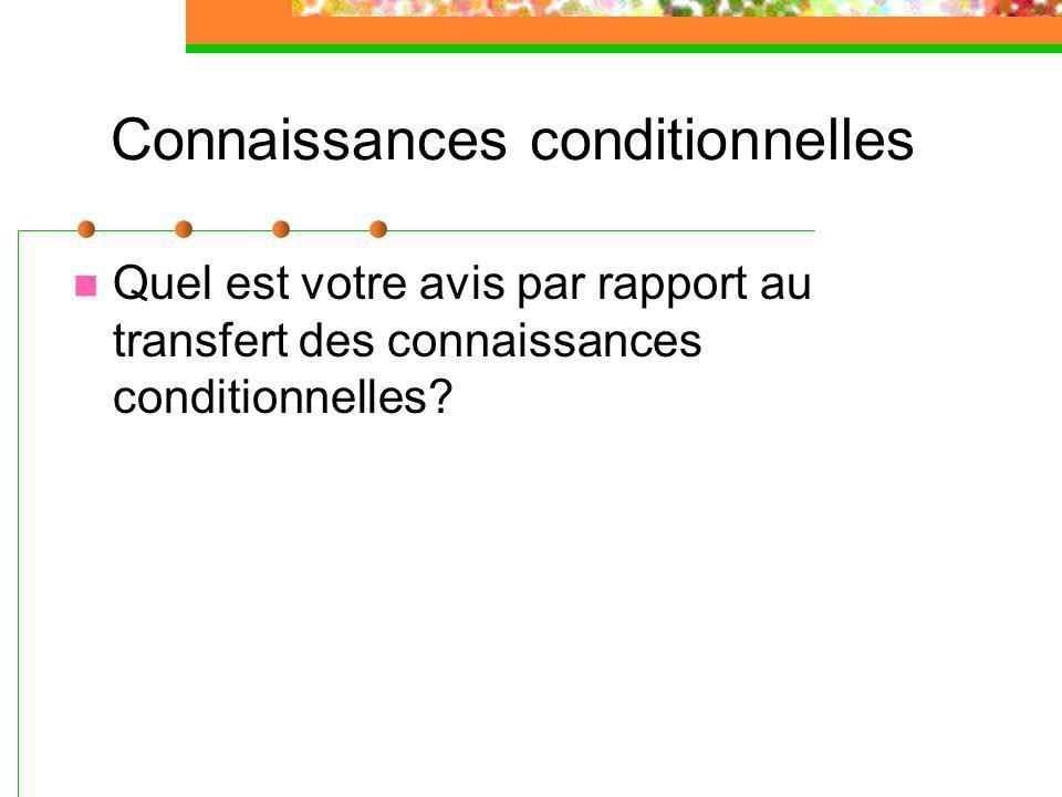 Connaissances conditionnelles Quel est votre avis par rapport au transfert des connaissances conditionnelles