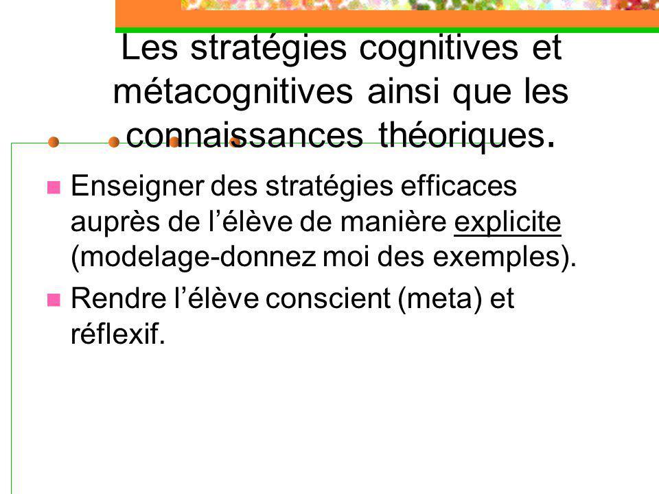 Les stratégies cognitives et métacognitives ainsi que les connaissances théoriques.