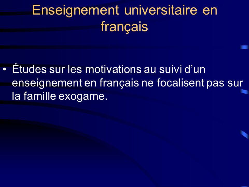 Enseignement universitaire en français Études sur les motivations au suivi dun enseignement en français ne focalisent pas sur la famille exogame.