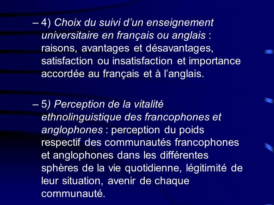 –4) Choix du suivi dun enseignement universitaire en français ou anglais : raisons, avantages et désavantages, satisfaction ou insatisfaction et importance accordée au français et à langlais.