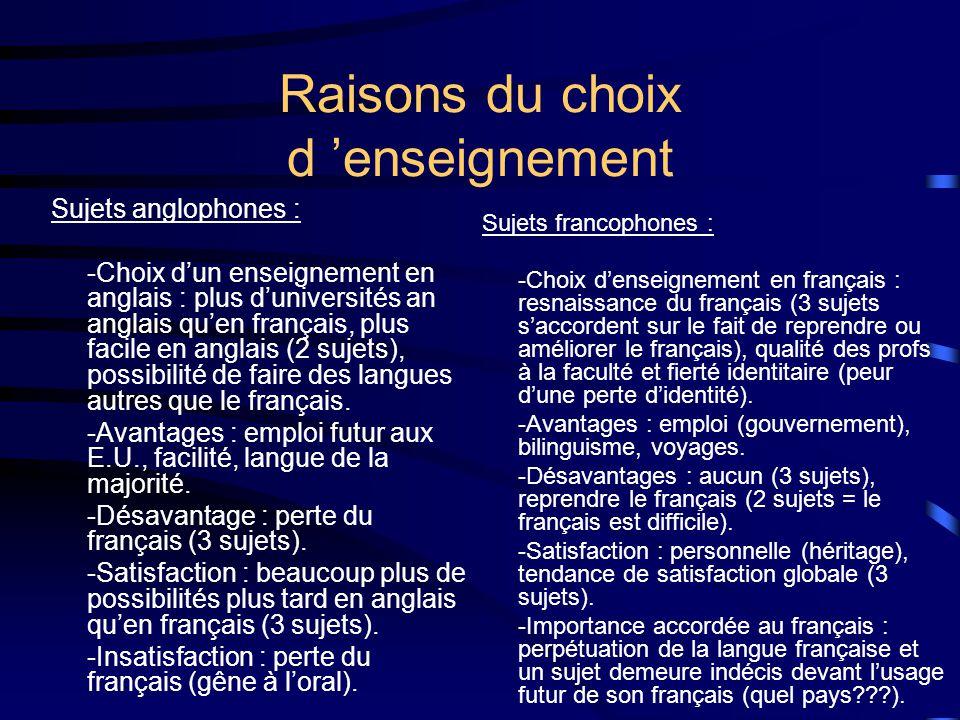 Raisons du choix d enseignement Sujets anglophones : -Choix dun enseignement en anglais : plus duniversités an anglais quen français, plus facile en anglais (2 sujets), possibilité de faire des langues autres que le français.