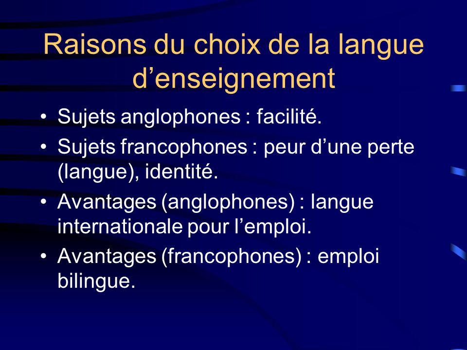 Raisons du choix de la langue denseignement Sujets anglophones : facilité.