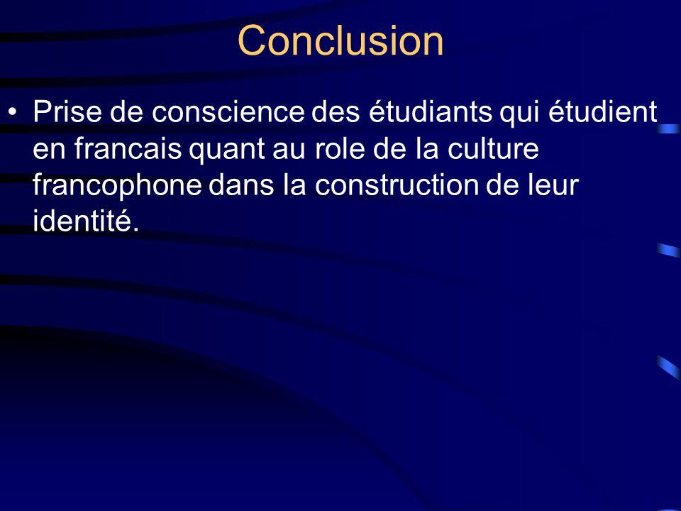 Conclusion Prise de conscience des étudiants qui étudient en francais quant au role de la culture francophone dans la construction de leur identité.