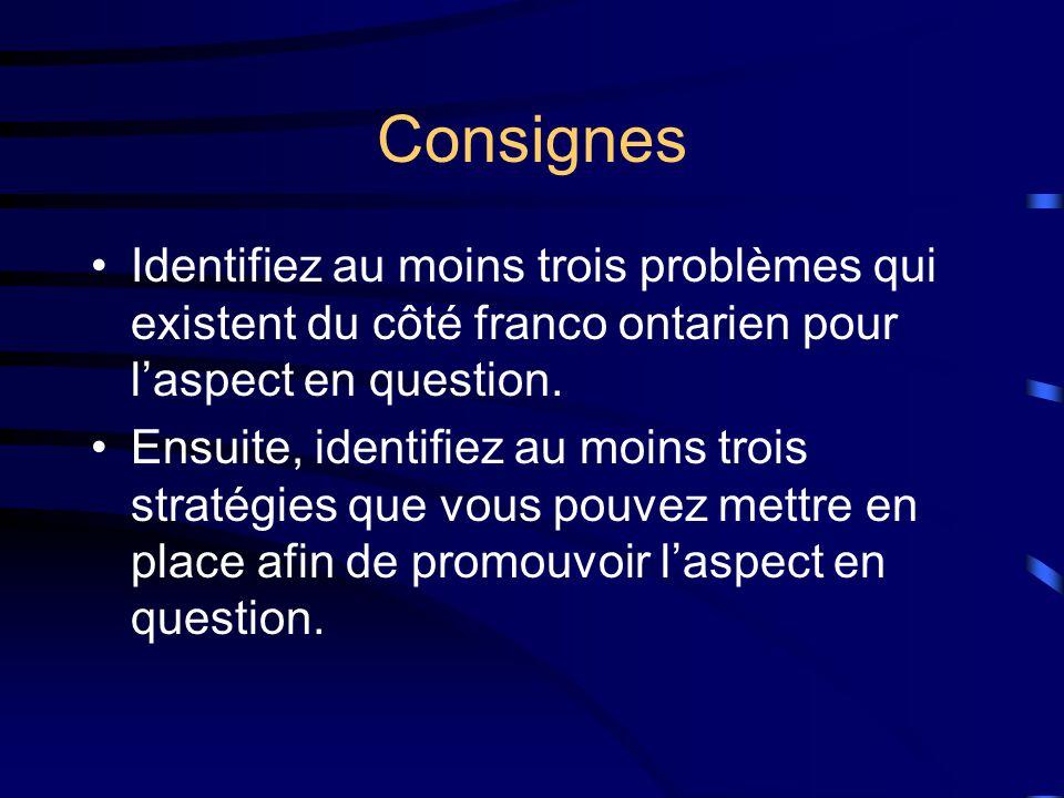 Consignes Identifiez au moins trois problèmes qui existent du côté franco ontarien pour laspect en question.