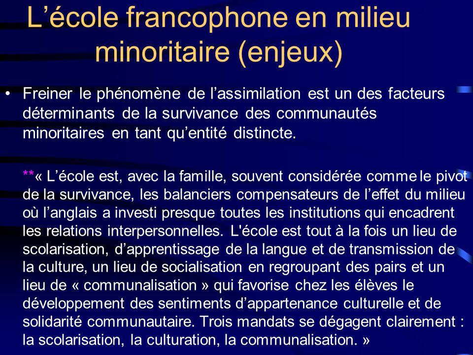 Lécole francophone en milieu minoritaire (enjeux) Freiner le phénomène de lassimilation est un des facteurs déterminants de la survivance des communautés minoritaires en tant quentité distincte.