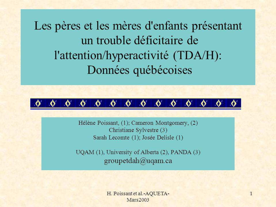 H. Poissant et al.-AQUETA- Mars2003 32 Niveaux scolaires (n. de sujets) Surtout 1 à 7e